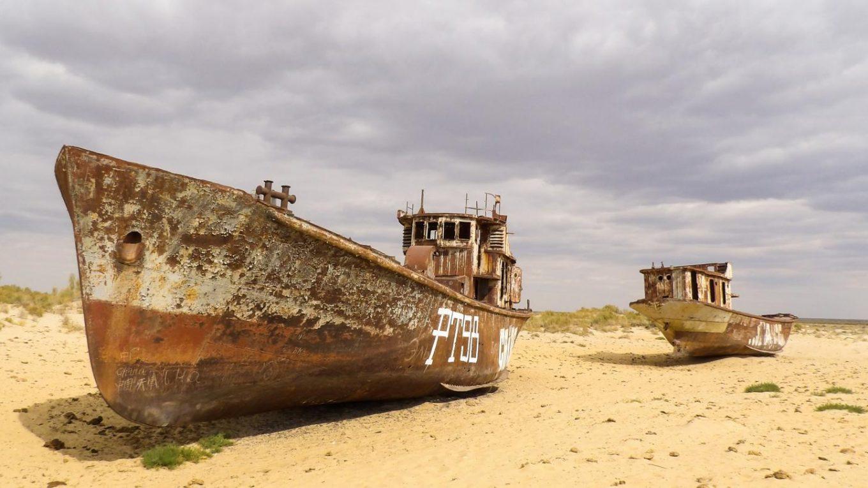 La mer d'Aral asséchée, revit