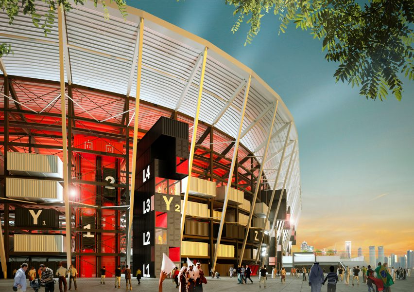 Un stade en conteneur construit au Qatar pour la coupe du monde 2022.