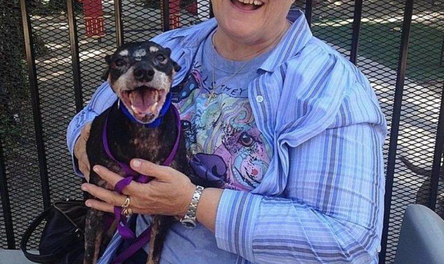 Une mamie adopte un chien âgé et malade